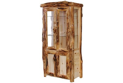 ASPEN LOG Lower Door Display Cabinet in Log Front (39″W)  in Natural Panel & Natural Log.