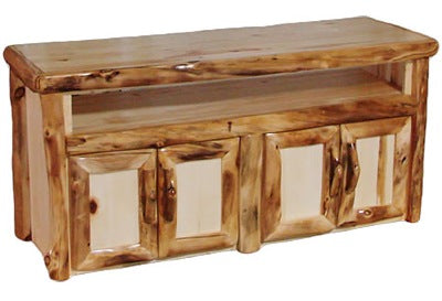 ASPEN LOG TV Stand in Log Front (60″W)  in Natural Panel & Natural Log.