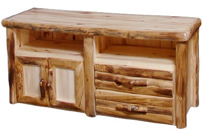 ASPEN LOG 2 Drawer TV Stand in Log Front (60″W) in Wild Panel & Natural Log.