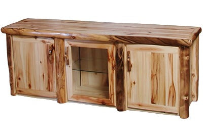 ASPEN LOG TV Stand in Flat Front (72″W)  in Wild Panel & Natural Log.