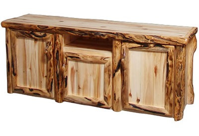 ASPEN LOG TV Stand in Log Front (72″W)  in Wild Panel & Gnarly Log.