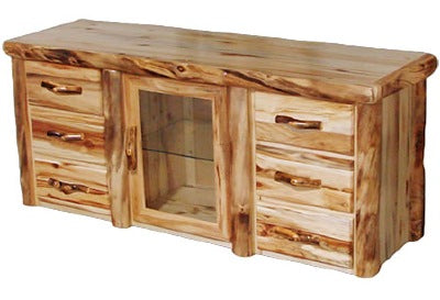 ASPEN LOG 6 Drawer TV Stand in Flat Front (72″W) in Wild Panel & Natural Log.