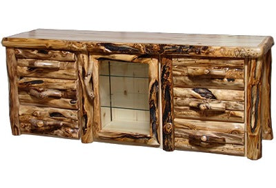 ASPEN LOG 6 Drawer TV Stand in Log Front (72″W) in Natural Panel & Gnarly Log