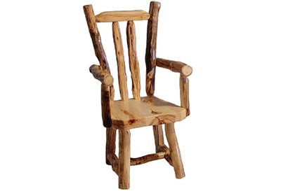 ASPEN LOG V-Back Captain's Chair (18″H Seat) in Natural Panel & Natural Log.