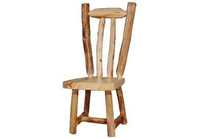 ASPEN LOG V-Back Side Chair (18″H Seat) in Natural Panel & Natural Log.
