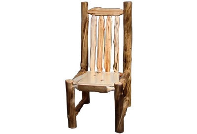 ASPEN LOG Side Chair (18″H Seat) in Natural Panel & Natural Log.
