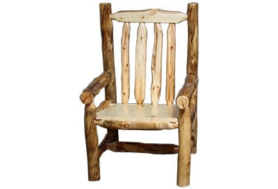 ASPEN LOG Captain's Chair (18″H Seat) in Natural Panel & Natural Log.
