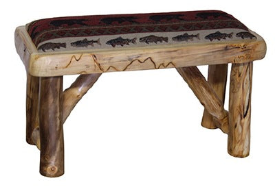ASPEN LOG Bench (36″W) in Natural Panel and Natural Log With Upholstered Seat Option