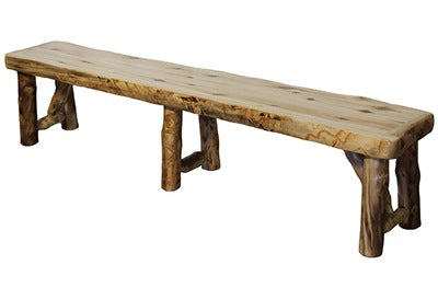 ASPEN LOG Bench (84″)  in Natural Panel and Natural Log