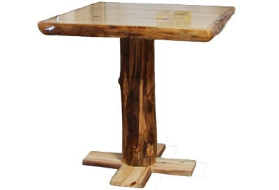ASPEN LOG Pub Table (42″W)  in Wild Panel & Gnarly Log.