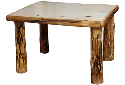 ASPEN LOG 48″W Dining Table (48″L)  in Natural Panel & Gnarly Log.