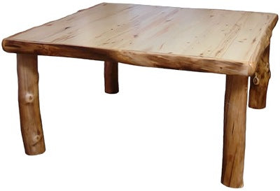 60″W Dining Table (60″L)  in Natural Panel & Natural Log.