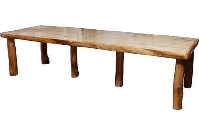 ASPEN LOG 42″W Dining Table (10′L)  in Natural Panel & Natural Log