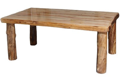 ASPEN LOG 42″ Dining Table (60″L)  in Wild Panel & Natural Log.