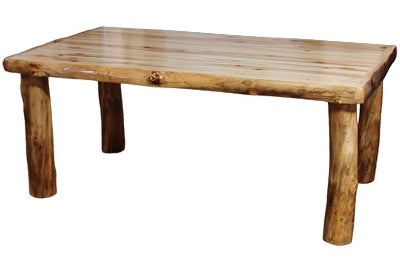 ASPEN LOG 42″W Dining Table (72″L)  in Wild Panel & Natural Log.