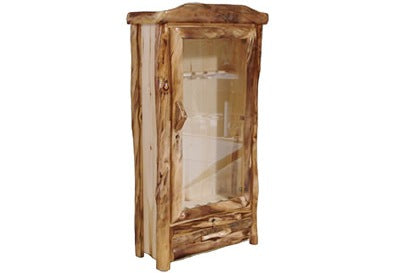ASPEN LOG 1 Drawer Gun Cabinet in Log Front (39″W)