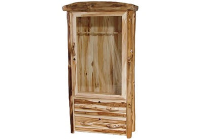 ASPEN LOG 2 Drawer Gun Cabinet in Flat Front (39″W)