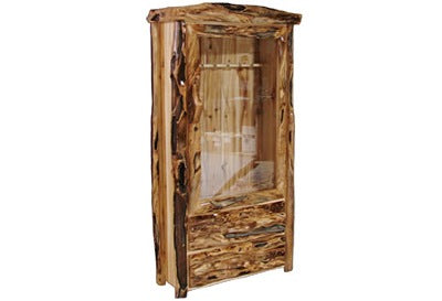 ASPEN LOG 2 Drawer Gun Cabinet in Log Front (39″W)