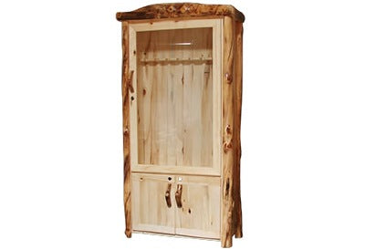 ASPEN LOG Lower Door Gun Cabinet in Flat Front (39″W)