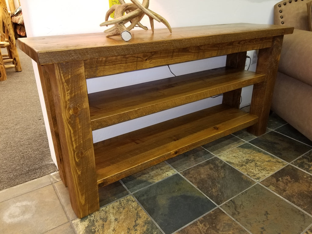 "The Sawmill Collection sofa table 60"" wide with extra shelf"