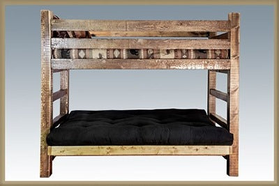 Homestead Twin Bunk Bed over Full Futon - Stained and Lacquered.