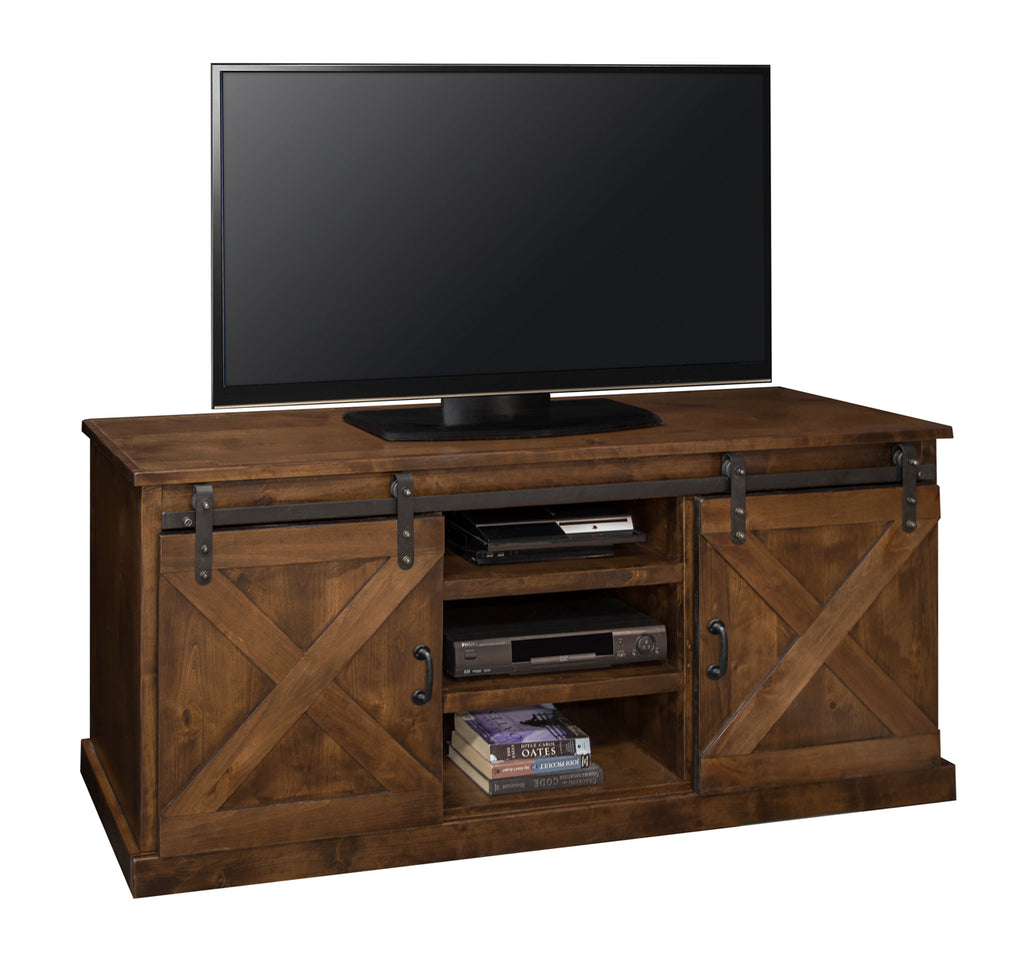 "Farmhouse Collection 66"" TV Console Aged Whiskey Finish"