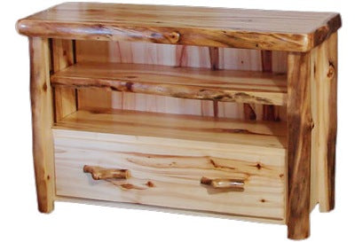 ASPEN LOG  1 Drawer TV Stand in Flat Front (39″W)in Wild Panel & Natural Log.