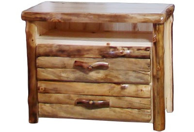 ASPEN LOG 2 Drawer TV Stand in Log Front (39″W)in Natural Panel & Natural Log