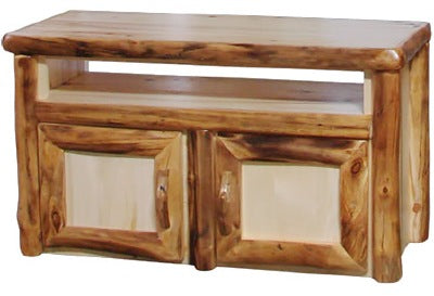 ASPEN LOG TV Stand in Log Front (48″W)  in Natural Panel & Natural Log.