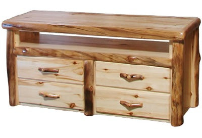 ASPEN LOG 4 Drawer TV Stand in Flat Front (48″W)in Natural Panel & Natural Log.
