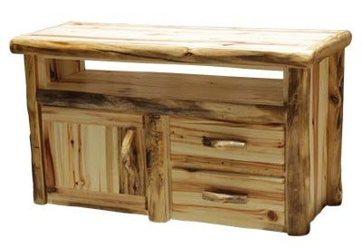 ASPEN LOG 2 Drawer TV Stand in Wild Panel & Natural Log