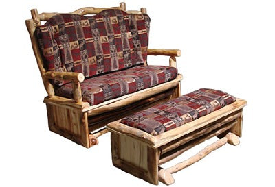 ASPEN LOG Glider Love Seat & Ottoman for Glider in Wild Panel & Natural Log