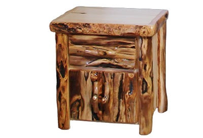 ASPEN LOG Night Stand in Log Front (24″W)