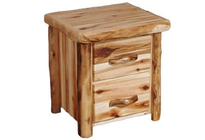 ASPEN LOG 2 Drawer Night Stand in Flat Front (24″W)