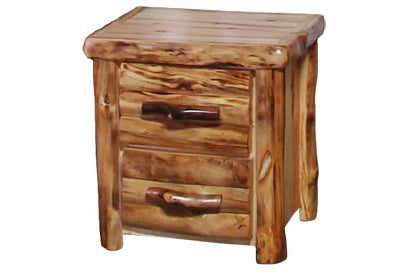 ASPEN LOG 2 Drawer Night Stand in Log Front (24″W)