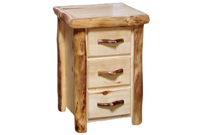 ASPEN LOG 3 Drawer Night Stand in Flat Front (21″W)