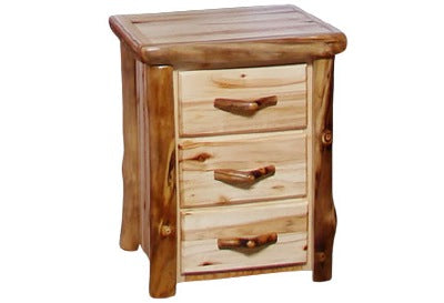 ASPEN LOG 3 Drawer Night Stand in Flat Front (24″W)