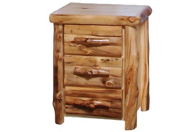 ASPEN LOG 3 Drawer Night Stand in Log Front (24″W)
