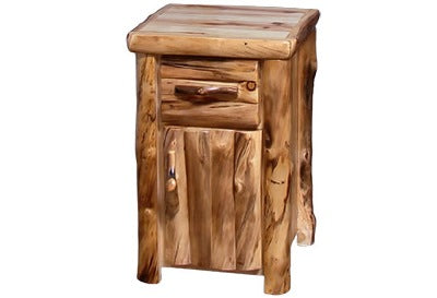 ASPEN LOG Tall Night Stand in Log Front (21″W)