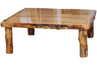 ASPEN LOG  Square Coffee Table (36″W)  in Wild Panel & Gnarly Log