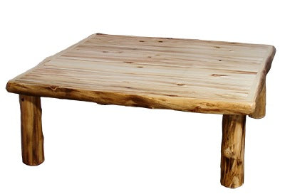 ASPEN LOG  Square Coffee Table (48″ x 48″) in Wild Panel & Natural Log.