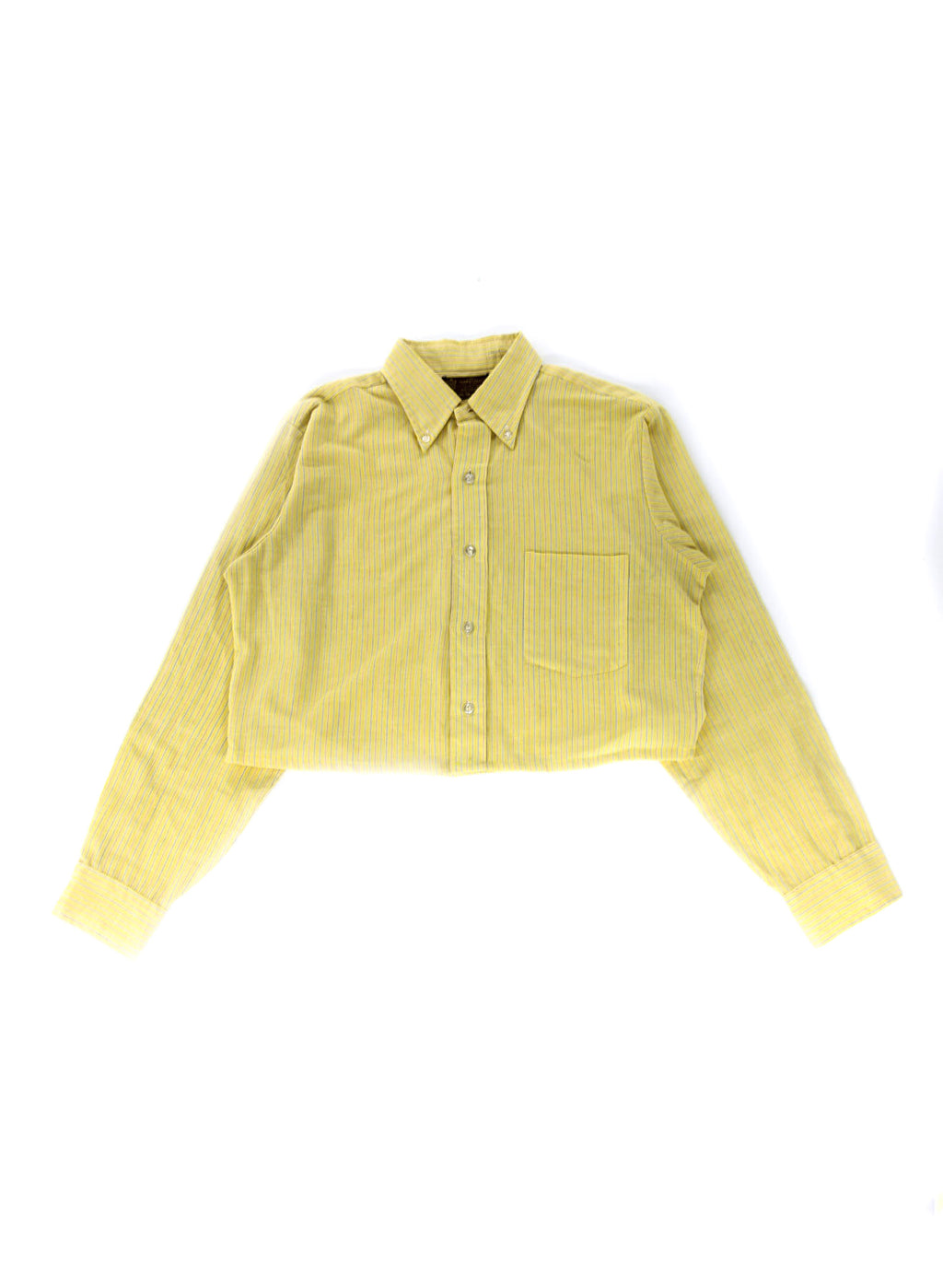 Vintage Yellow and Black Striped Cropped Shirt