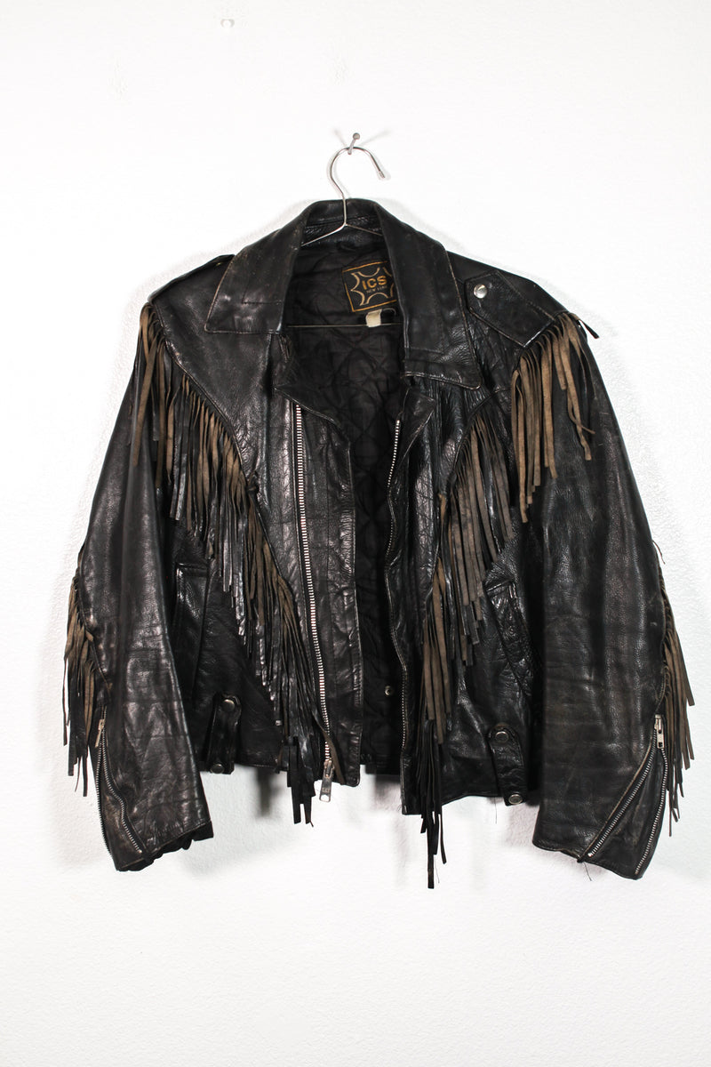 Vintage Harley Davidson Leather Tassle Jacket