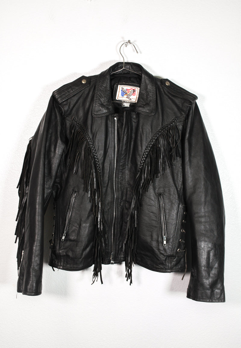 Leather Wear Black Tassle Jacket