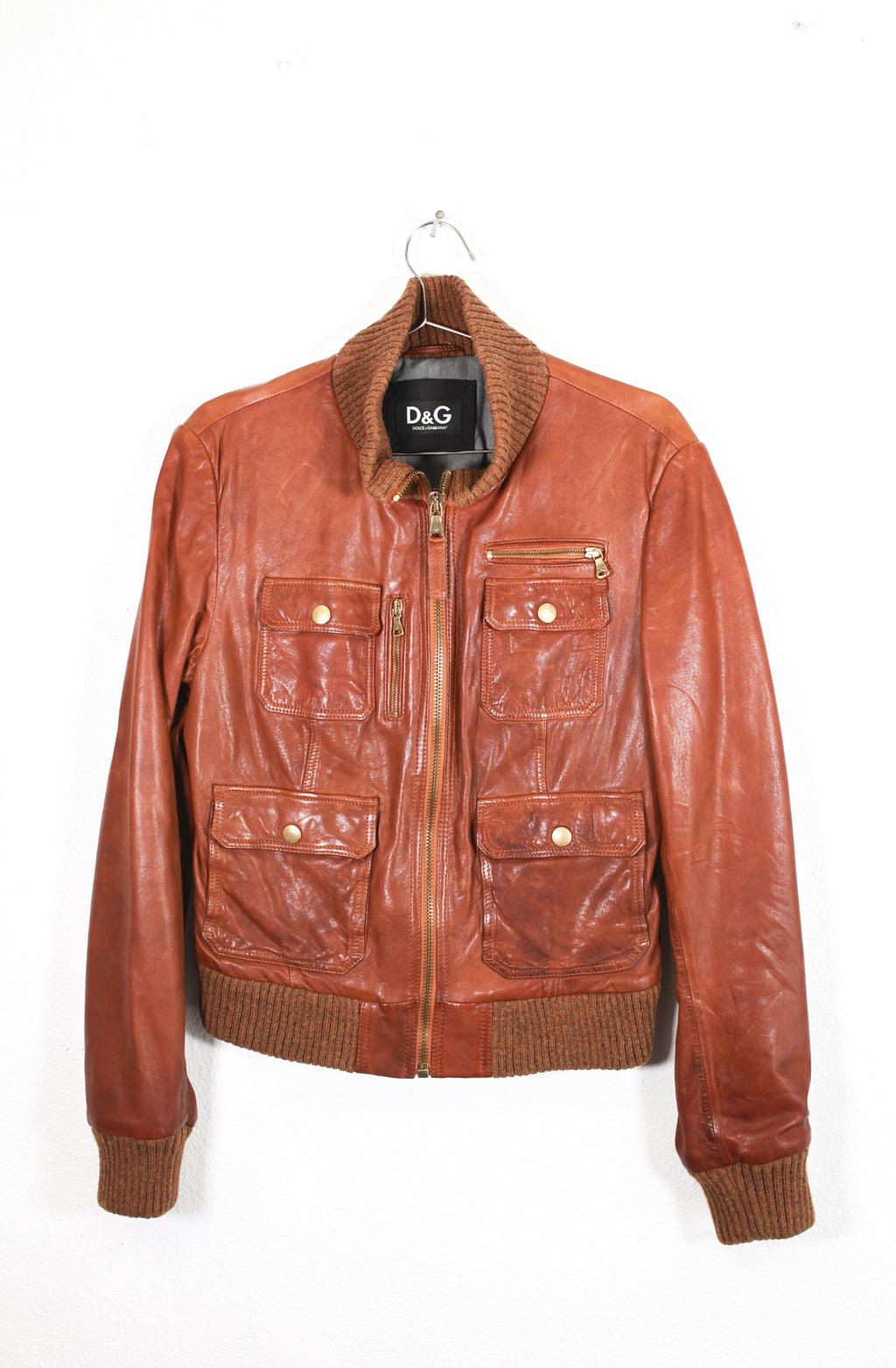 Dolce & Gabbana Brown Leather Jacket