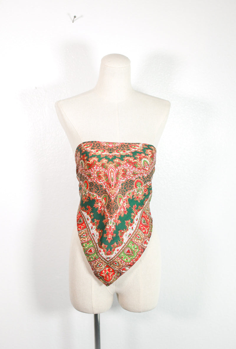 Reds & Greens Silk Scarf Top