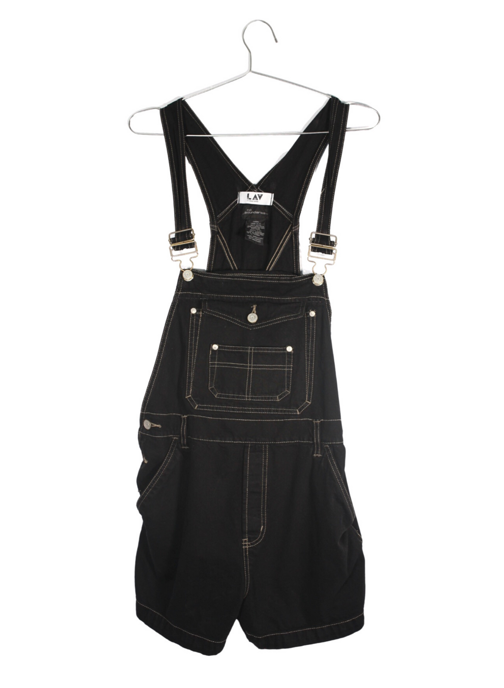 Vintage Black Denim Short Overalls