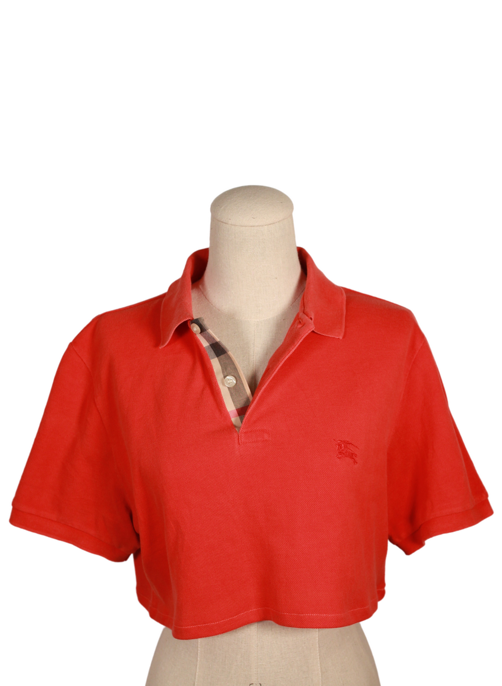 Red Burberry Street Polo