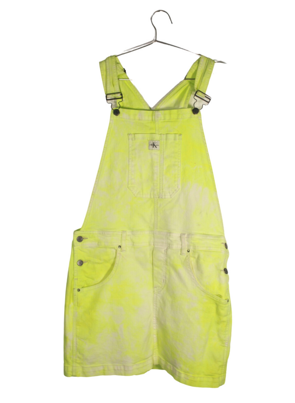 Green Bleach Washed Calvin Klein Overall Dress