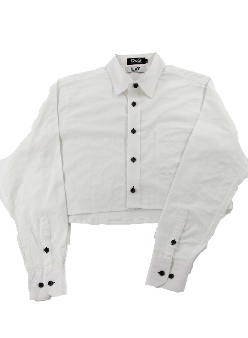 Dolce and Gabbana White Cropped Shirt